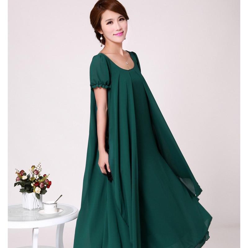 US $20.95 53% OFF|2019 New Fashion Women Summer Chiffon Dress Feminino  Loose Look Slim Plus Size Vestidos Flounced Belt O Neck Long Dresses  HJ94-in ...
