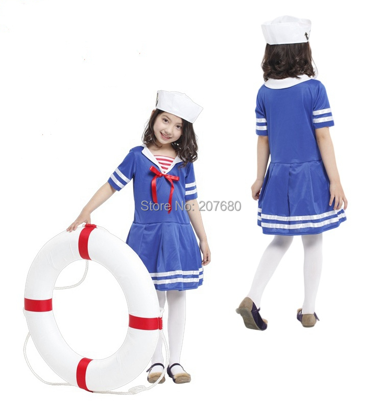 New children girl halloween party cosplay cute seaman navy blue sailor dress costume for kid Fancy dress
