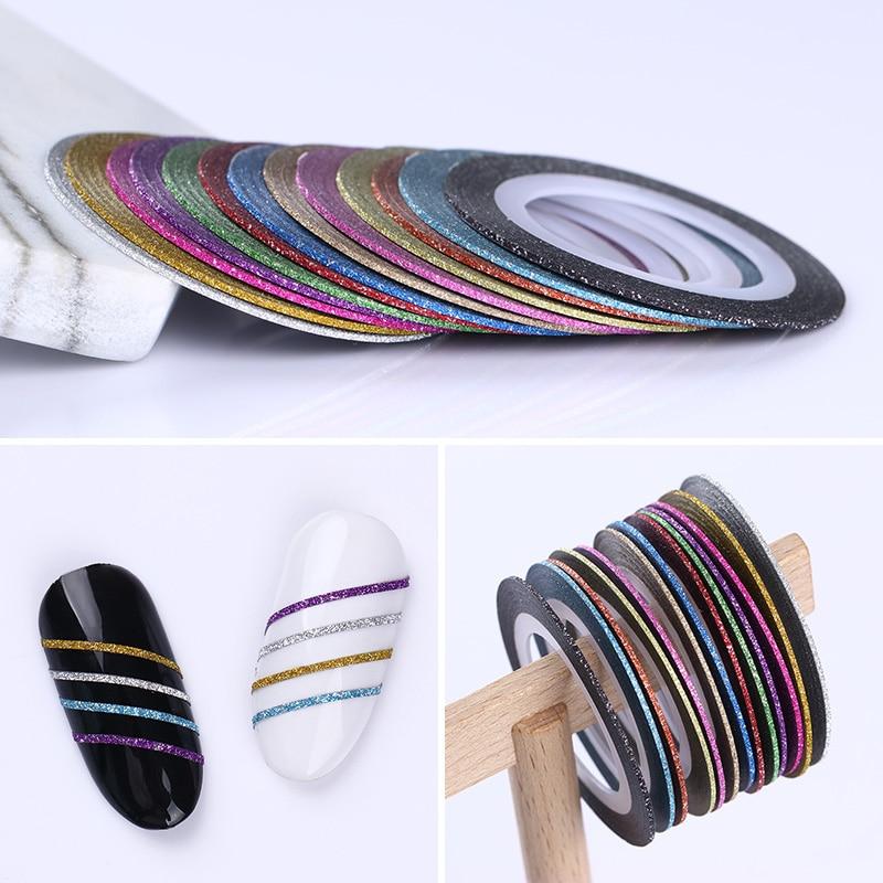 2 мм матовый блеск для ногтей, Чередование ленты линия разноцветные, для ногтей инструмент для укладки волос Стикеры наклейка DIY украшения для ногтей - Цвет: 02