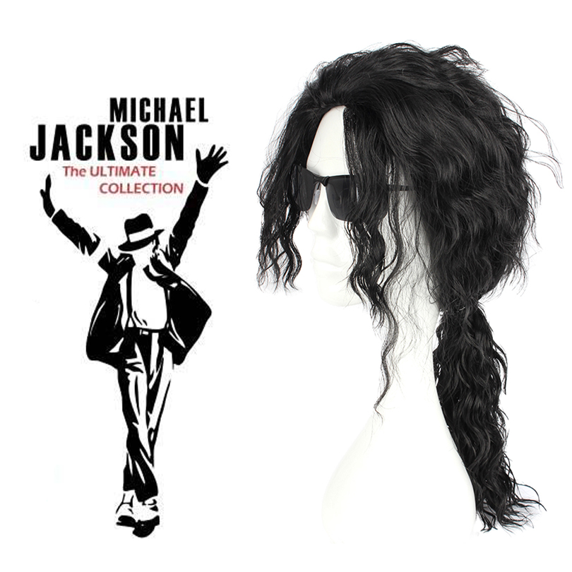 Role Play Michael Jackson Black Curly Wig Michael Jackson Black Wavy Hair Ponytail Cosplay Hair Free Shipping
