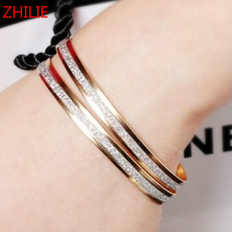 1PCS 2017 New Fashion Double Frosted Bangle Female