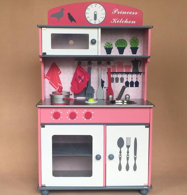 US $149.0 |Senior luxuriöse holz kinder spielzeug küche kinder spielen  simulation mädchen rosa küche herd küchenutensilien und geräte in Senior ...