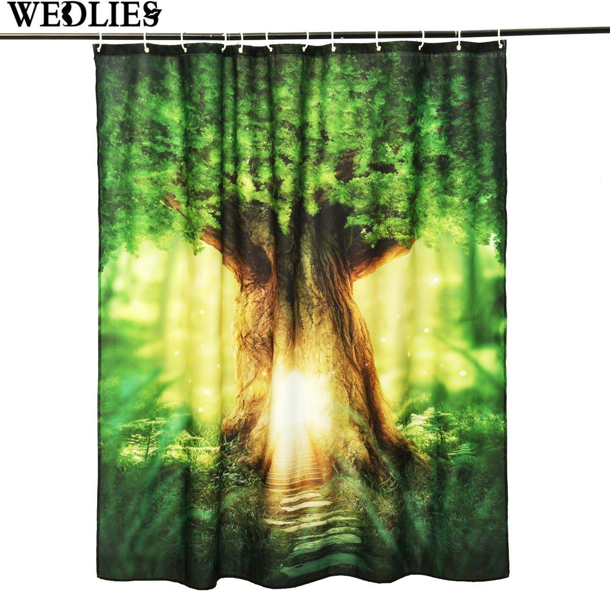 Shower curtain custom modern sunshine big tree bath screens fabric waterproof bathroom polyester panel sheer decor