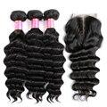 7А Бразильский Пляж Волны С Закрытием Queen Hair С Закрытием 4 шт. Бразильские Рыхлый Глубокий Человеческих Волос С Lace Closure
