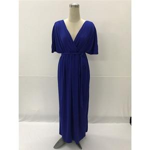 Image 4 - Maternity Evening Dress For Pregnant Women Clothes Long Loose Deep V neck Lady Pregnancy Dress Vestidos Gravidas Clothing Summer