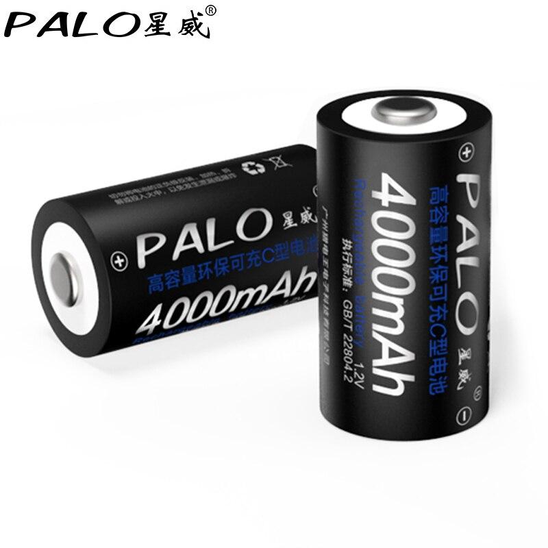 PALO 2 Pcs 4000mAh 1.2v NI-MH <font><b>C</b></font> <font><b>Size</b></font> Batter For Toy car Instruments Camera Microphone Rechargeable <font><b>Battery</b></font> pilas <font><b>recargables</b></font>