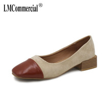 Spring Square Head Fashion Stitching Single Shoe Retro Rough-heeled Grandma Lady Shoes luxury brand shoes women