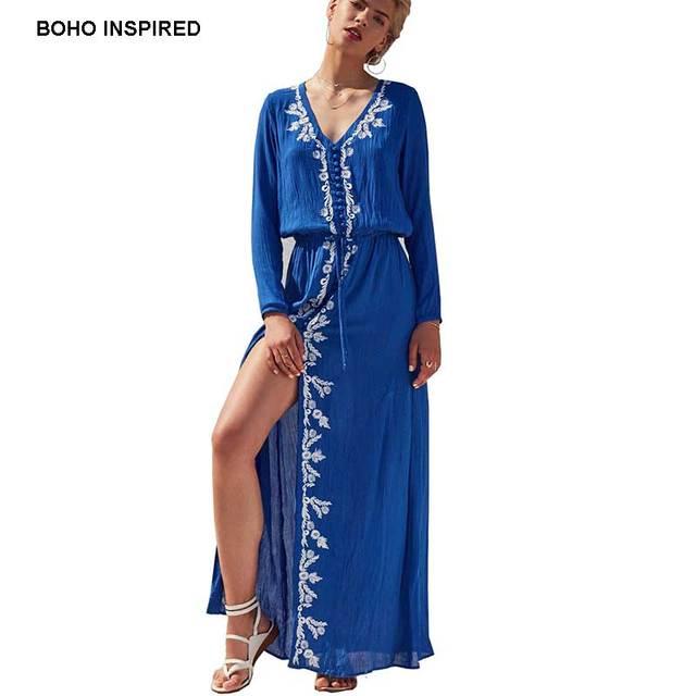 968718549e3 BOHO INSPIRED elastic waist long Sleeve Embroidery maxi Dress Navy V Neck A  Line Dress holiday Women Dresses hippic chic 2017