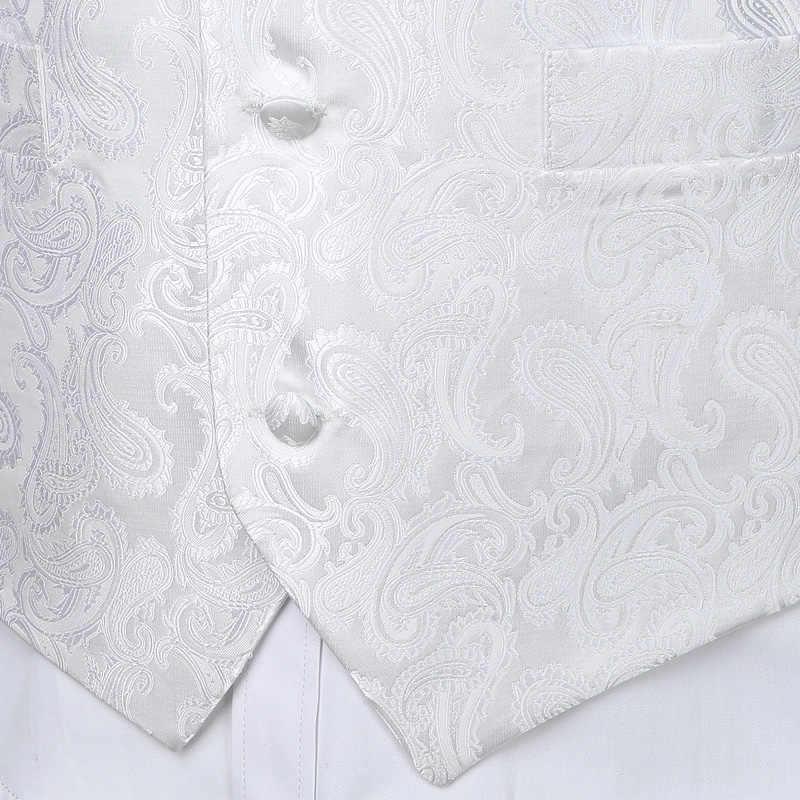 """Мужской 3 шт Белый Жаккардовый жилет с узором """"индийский огурец"""" набор 2019 новый элегантный мужской свадебный жилет для костюма или смокинга галстук + карман + квадрат"""