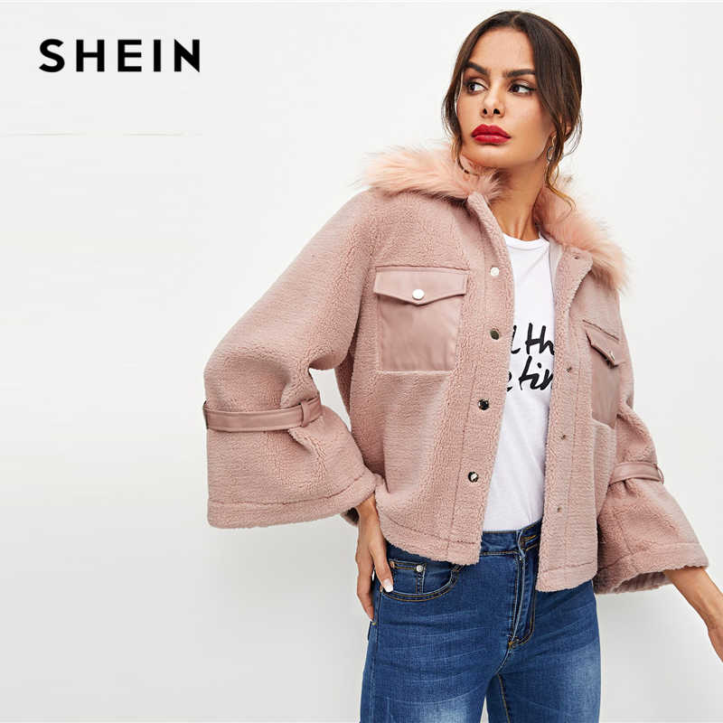 5e209f333e SHEIN Pink Office Lady Elegant Button And Pocket Front Faux Fur Single  Breasted Solid Coat 2018