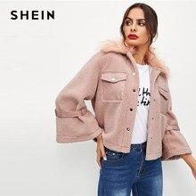 78bea6b3de250b SHEIN Dell'ufficio Della Signora Rosa Elegante Bottone E Tasca Frontale Faux  Fur Monopetto Solido Cappotto di 2018 Donne di Autu.