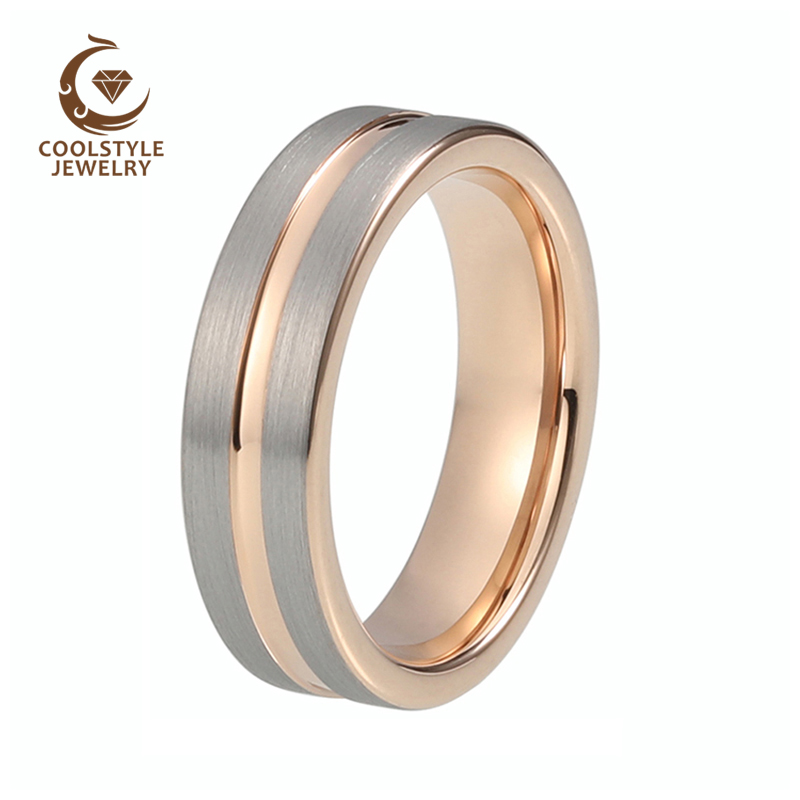 GLORY Unisex 6mm Rose Gold Tungsten Carbide Wedding Band Ring Pipe Cut Grooved Silver Brushed Finish