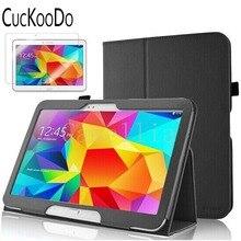 """Para samsung galaxy tab 4 10.1 case, cubierta plegable delgado case para samsung galaxy tab4 10.1 """"tablet + protector de pantalla"""