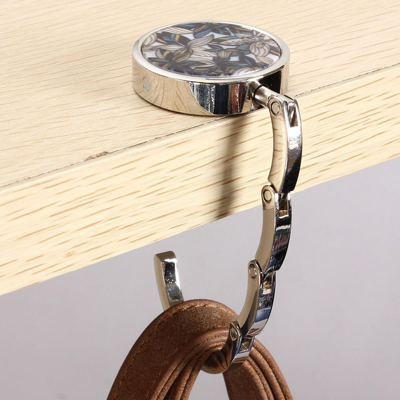 Funny Corgi Foldable Purse Hook Handbag Table Hanger Bag Hanger for womens bag storage