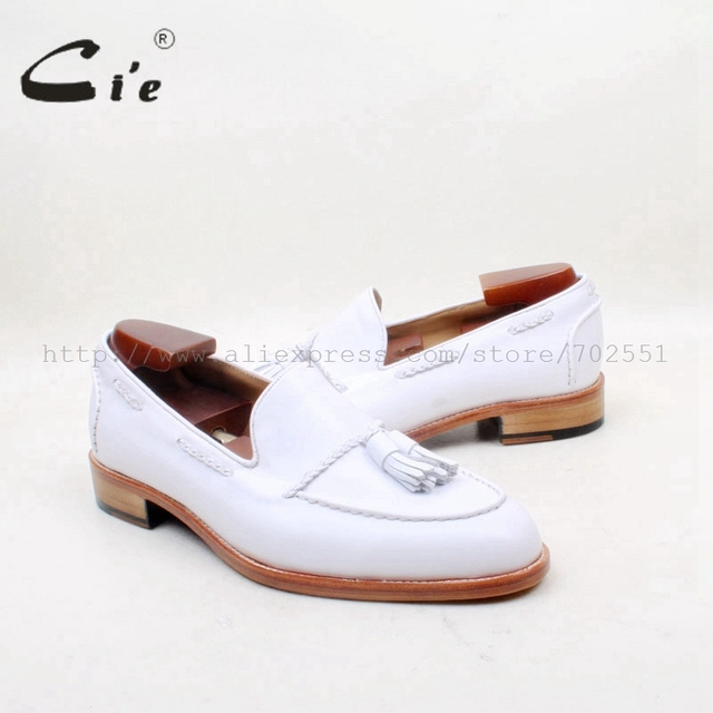 cie Round Toe 100% Genuine Leather Outsole Bespoke Adhesive Craft Handmade Pure White  Tassels Slip-on Men's Shoe No.loafer 159