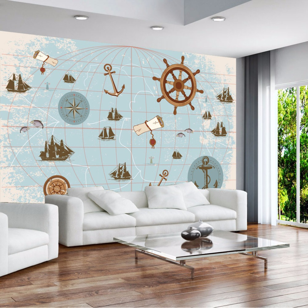 Large Mural Sailing World Map Wallpaper Mural 3d Wall Photo Mural for Child Room Sofa Background 3d World Map Wall paper Murals custom 3d photo wallpaper mural nordic cartoon animals forests 3d background murals wall paper for chirdlen s room wall paper