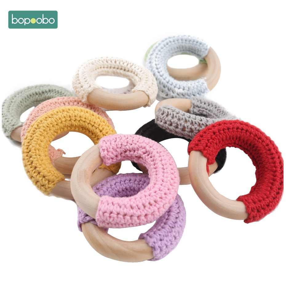 Bopoobo 1 Pza 50mm anillos de ganchillo de madera collar de alimentación de bebé círculos de madera mordeduras de bebé Juguetes DIY juguetes de tejer mordedor de bebé
