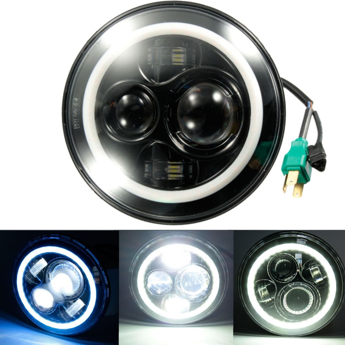 Angel Eyes 7 Inch LED Headlight For Jeep 97-15/Wrangler/JK/TJ/LJ H4 Hi-lo Beam Front Driving Headlamp Car Styling 7 inch 60w led headlight drl white turn singal hi lo beam headlamp bulb fit jeep wrangler jk tj sahara unlimited hummer h1 h2