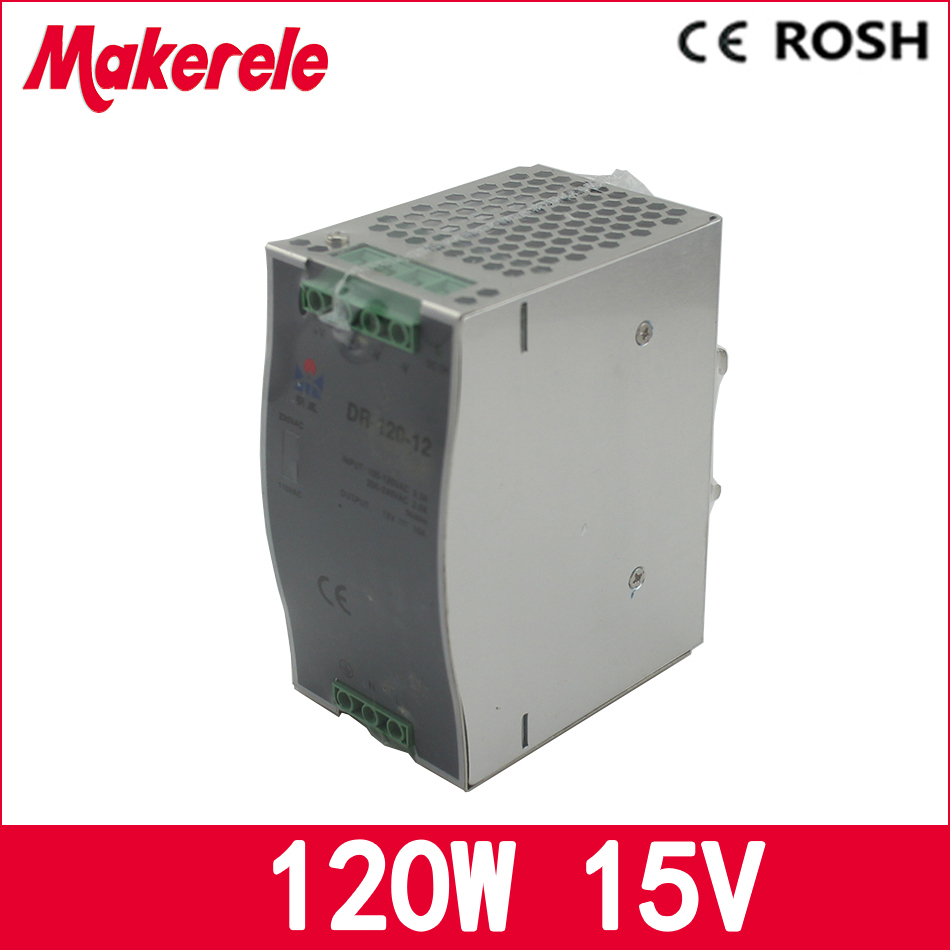 din power supply LED DC 15V 8A DR-120-15 Single Output Din Rail Switching Power Supply Transformer for led driver ac dc dr 60 5v 60w 5vdc switching power supply din rail for led light free shipping