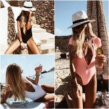 MAKOSHARK Swimwear Women 2019 Summer Swimsuit Deep V One Piece Backless Monokini Beach Bathing Suit Pure Color