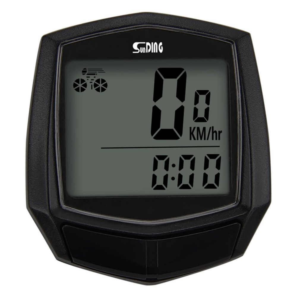 Sunding ไมล์จักรยานแบบมีสายนาฬิกาจับเวลาจักรยานมัลติฟังก์ชั่คอมพิวเตอร์ Speedometer เครื่องวัดระยะทาง Sensor อุปกรณ์กีฬากลางแจ้ง SD-581 สีดำ