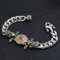 5ddbfc4c6150 S925 Silver Fashion Jewelry Retro Thai Silver Mink Diamond Pestle Twelve  Zodiac Transport Man S Bracelet