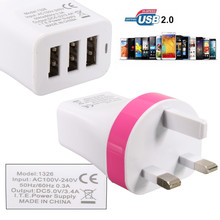 UK Plug 5V 3.4A 3 Ports USB Charger Wall Travel Adapter Universal For iPhone 7 7 Plus 6 For Samsung