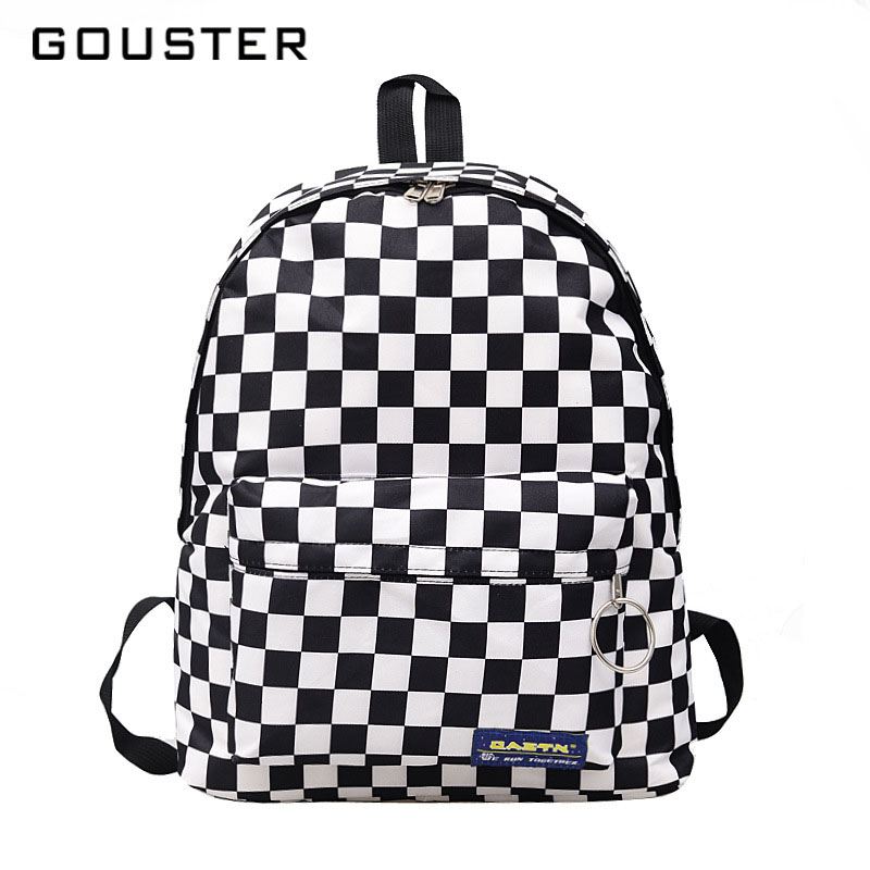 Gouster Hot Sale Women Men Unisex Lattice Backpack New Trend Checkerboard Teenager School Bag Couples Back Pack Travel Bag