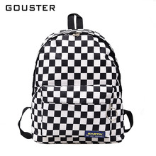 fb667f7d5ba8 GOUSTER 2018 Hot Sale Women Men Unisex Lattice Backpack New Trend  checkerboard Teenager School Bag Couples