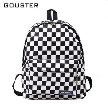 GOUSTER 2018 Hot Sale Women Men Unisex Lattice Backpack New Trend checkerboard Teenager School Bag Couples Back Pack Travel Bag