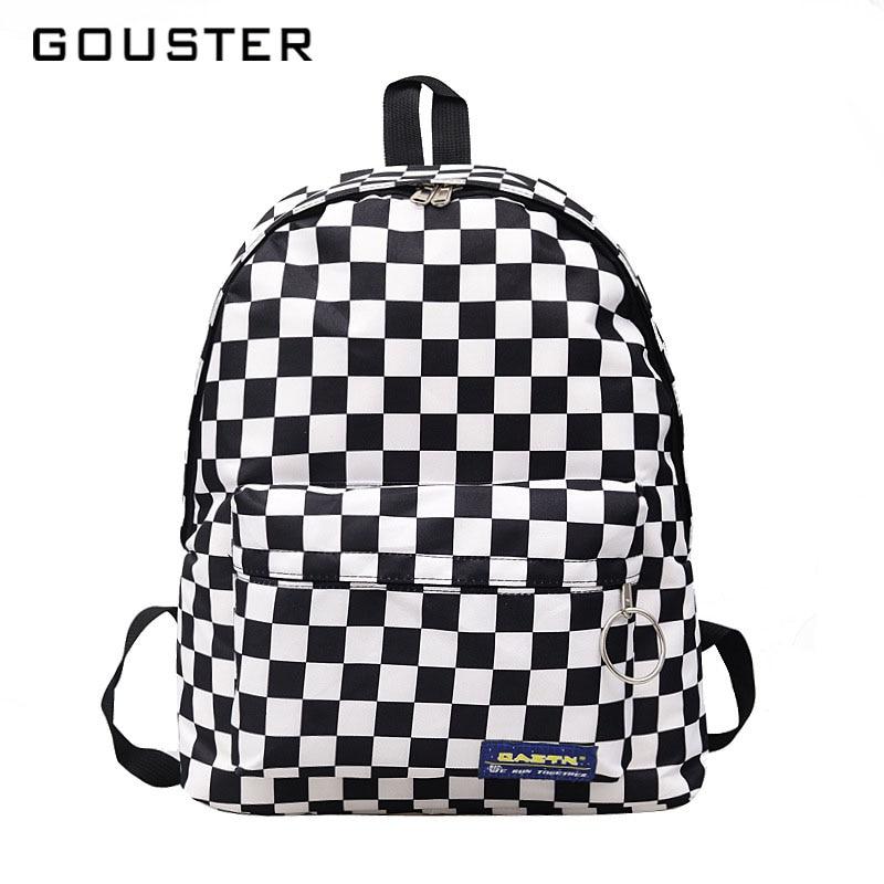 Guester 2018 gran venta mujeres hombres Unisex Lattice mochila nueva tendencia checkerboard adolescente escuela bolsa parejas mochila de viaje