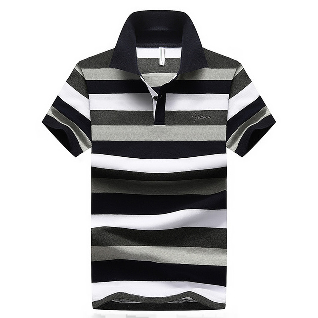 e48a1c407f2 2018 Summer Vintage Style Short Sleeves Casual Men Striped Polo Shirts Plus  Asian Size M-4XL