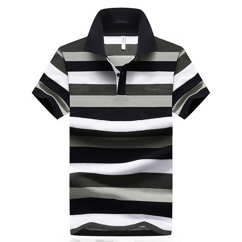 2018 Summer Vintage Style Short Sleeves Casual Men Striped   Polo   Shirts Plus Asian Size M-4XL