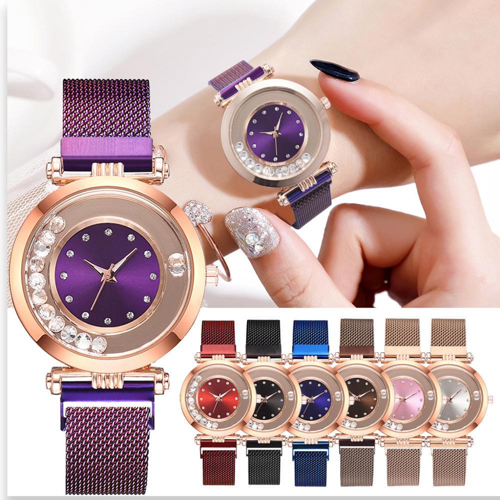 Flowing Rhinestone Waches Women Top Brand Stainless Steel Mesh Ladies Watch Luxury Magnetic Quartz Clock Girls Gift Reloj Mujer