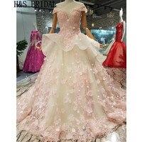 H&S BRIDAL Pink floral flowers Wedding Gowns Appliques ruffles Elegant bride dresses robe de marriage vestido wedding dress