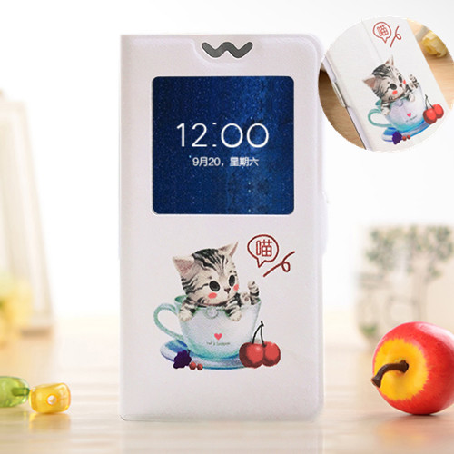 Flip Window Cover For Samsung Galaxy G355h i8552 G850F A3 A5 A7 J1 J3 J5 J7 2016 Pro 2017 Cartoon Painted Stand Phone Cover Case