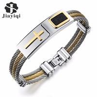 Jiayiqi Cool Men Bracelet CZ Cross Design Stainless Steel Wire Chain Cuff Bangles For Men Jewelry