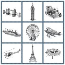 Best Quality Miniature 3D Metal Model Puzzle Building Kits Ship Castle Bridge Fighter 3D Jigsaw Puzzle Educational Toys for Gift
