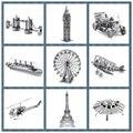 Melhor Qualidade Em Miniatura de Metal Modelo 3D Puzzle Edifício Kits Navio Castelo Ponte Lutador 3D Jigsaw Puzzle Brinquedos Educativos para Presente
