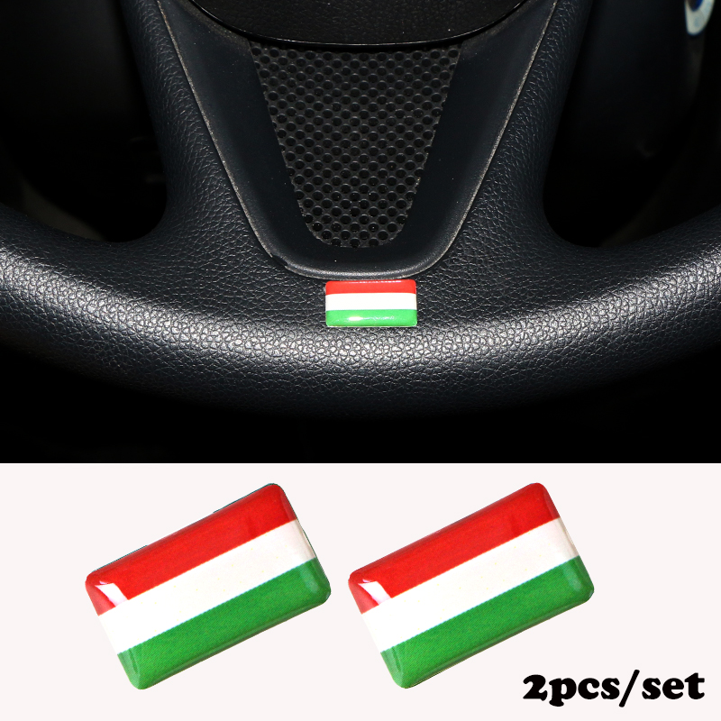 2pcs/set Steering <font><b>wheel</b></font> 3D Epoxy Car fit for <font><b>Peugeot</b></font> 307 <font><b>peugeot</b></font> 206 308 207 <font><b>406</b></font> Shield Flag Car Sticker Hungary National Emblem image