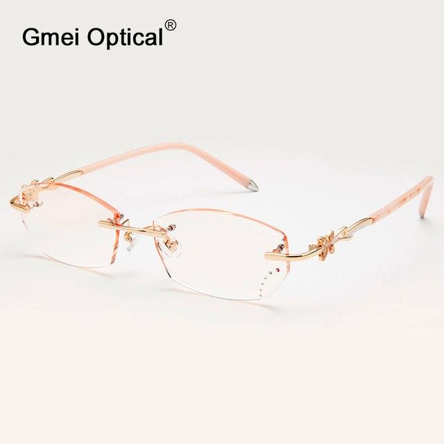 Gmei Оптический Q308 Без Оправы Алмазные Линзы Очков Рамки для Женщин Очки