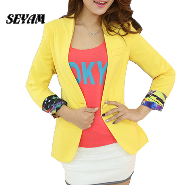SEYAM Blazers and Jacket Yellow Full Sleeve Slim Fit Wear to Work Female Elegant Blazer Feminino Jacket ow0250