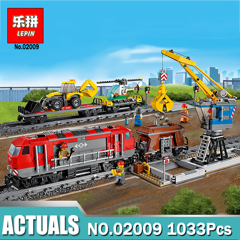 Lepin 02009 1033 pcs Model building kits compatible with legoing city RC Heavy-haul Train Set 60098 Toy Building Block Toy