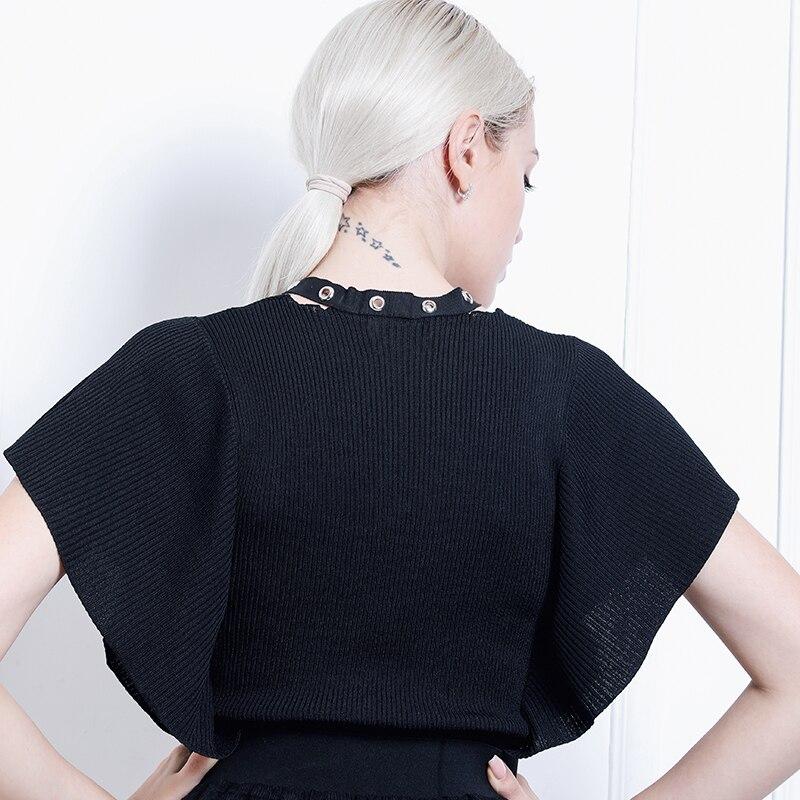 Mode Dames Fold Chauve Luxe Kenvy Marque Cravate De Chandail Gamme souris Haut Femmes cou Manches V 1wEf0x