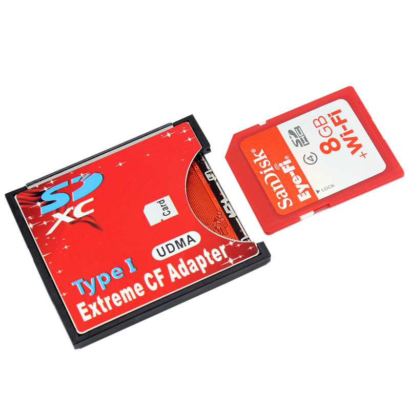 New SDXC SDHC WIFI SD to Type I Compact Flash Card Adapter CF Adapter Maximum Support