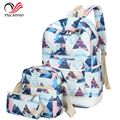 3pcs/Set bag 2017 Women Printing Backpacks Canvas School Backpack Big Students Bags for Teenages Girls Casual Travel Schoolbags