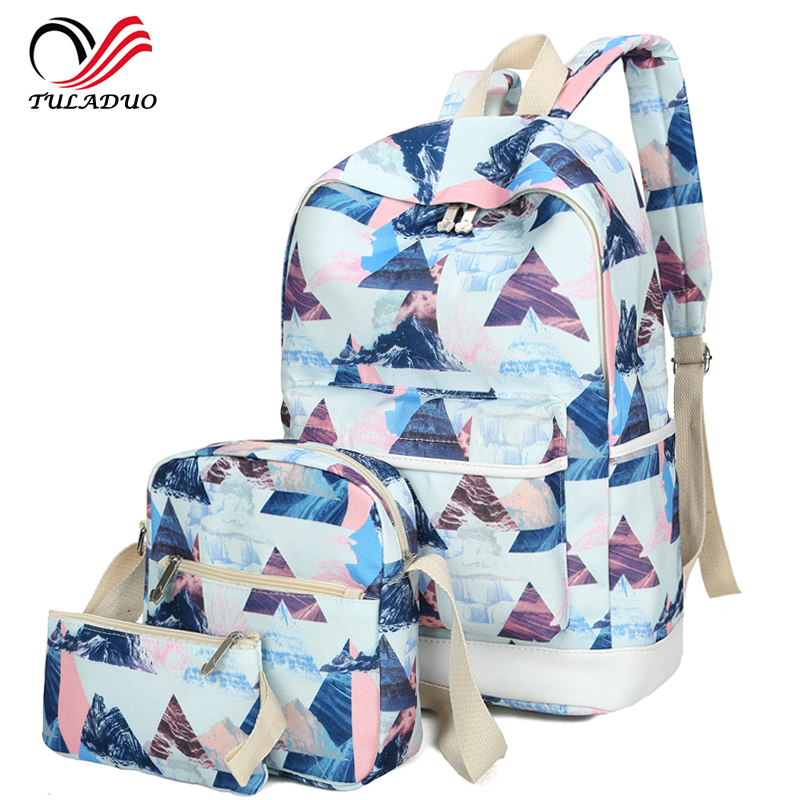 3pcs/Set bag 2018 Women Printing Backpacks Canvas School Backpack Big Students Bags for Teenages Girls Casual Travel Schoolbags zenbefe 3pcs set cats printing backpacks polyester school bags for teenagers girls cute school bag lady bookbag travel rucksack