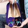 Cão Bordado Ballet Flats Mulheres De Veludo Do Vintage Flats Casual Flat Shoes Deslizamento Em Loafers Mocassins Alpercatas