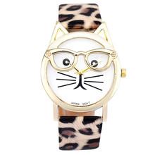 Luxury Brand Cute Glasses Cat Women Watch