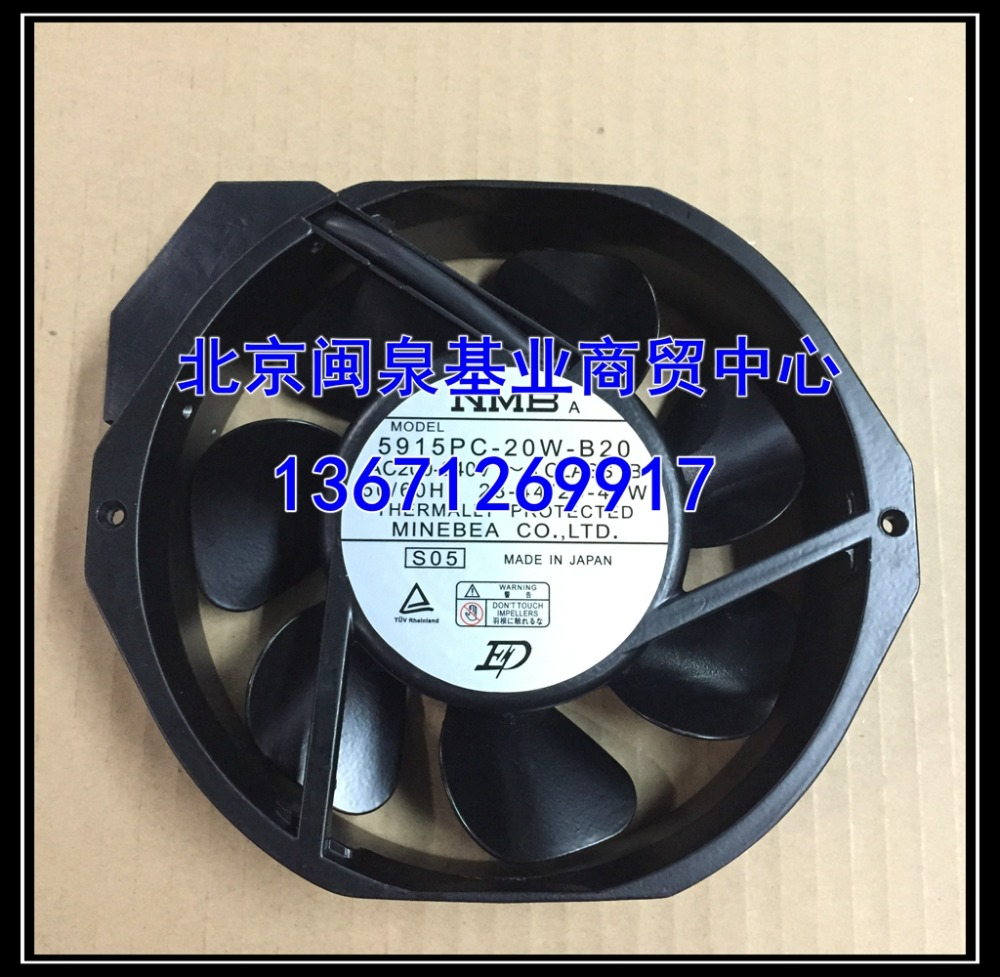 NMB-MAT 5915PC-20W-B20 S05 AC 200V-240V 25/44W 2-PIN 172X150X38mm Server Round Fan high temperature resistance 200v nmb 5915pc 20w b20 metal frame cooling fan